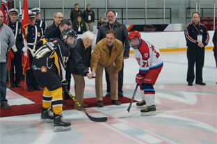 Hazel drops the puck